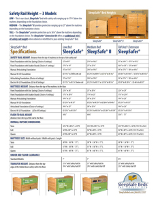 SleepSafe Bed Side-by-Side Specifications and Measurements