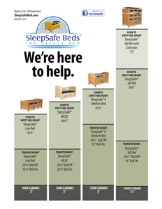 SleepSafe Beds - Side by Side measurements for bed models.