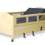SleepSafe® Bed - Low Bed with Maple Finish - Manual Hi-Lo Foundation - Articulation