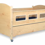 SleepSafe® BASIC Bed - In Maple - Safety Rail up