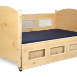 SleepSafe® BASIC Bed - In Maple - Safety Rail down