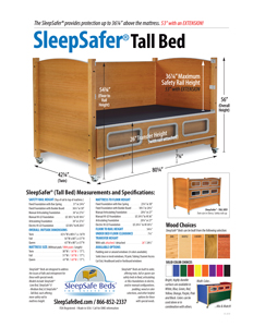SleepSafer Tall Bed with Extension Specifications and Measurements