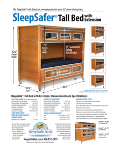 SleepSafer TALL BED Specifications and Measurements