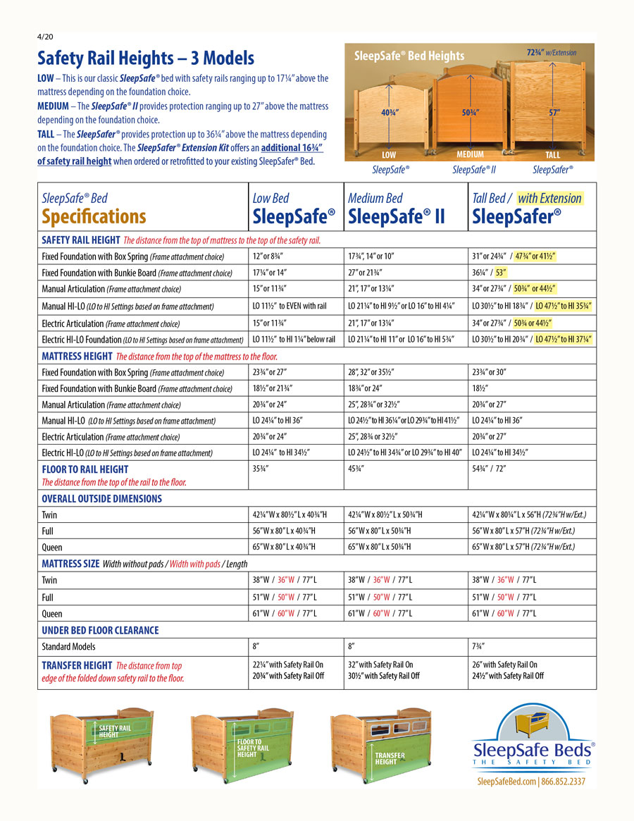 SleepSafe Bed Measurements and Specifications