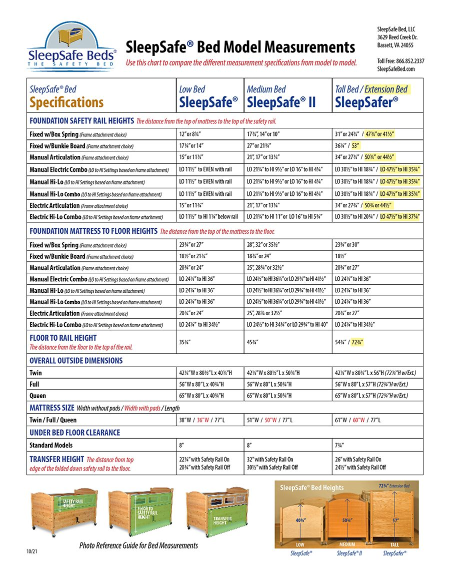 SleepSafe® Bed Measurements and Specifications